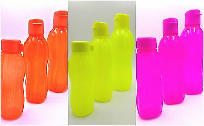 Tupperware Set of 3 Eco Drinking Water Bottle On The Go Neon Yellow/Orange