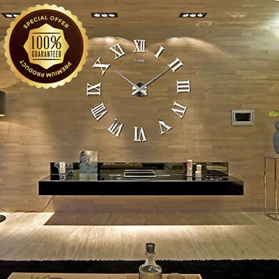 Modern DIY Wall Clock Big Watch Decal 3D Stickers Roman Numerals Silver Home  UK