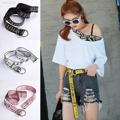 31AB Man Women Casual Canvas Letters Wide Belt Waistband Webbing Buckle Belts