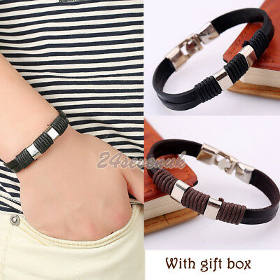 Mens Boys Leather Braided Wristband Bracelet Stainless Steel Bangle Wrap Gifts