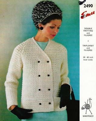 e030497c8cab9e EM2490 LADIES DK or ARAN JACKET   HAT (with MOHAIR) KNITTING PATTERN 30-
