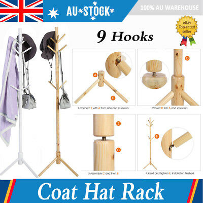3-Tier 9 Hook Bag Hat Coat Clothes Rack Umbrella Stand Tree Style Wooden Hanger
