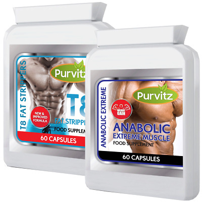 T8 Strong Fat Burners + Anabolic Weight Gain Pills Increase Size No Steroids