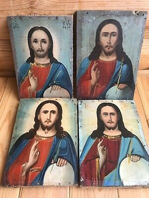 """Antique 19c Russian Orthodox Hand Painted Wood Icon """"Christ Pantocrator"""" 4"""
