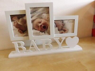 Bambino Baby Photo Frame 3 Apertures Standing on Plinth