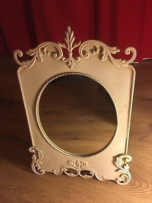 Antique Style Ornate Metal Mirror Shabby Chic Vintage.Cream Crackling Effect New