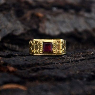 Garnet Real 925 Sterling Silver Yellow Gold Engagement Gift Men's Signet Ring