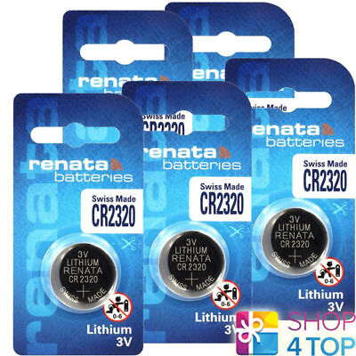 5 Renata Cr2320 Lithium Batteries 3V Cell Coin Button Swiss Made Exp 2024 New