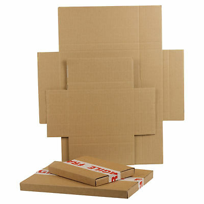 Brown Large Letter Die Cut Folding Postal Cardboard Boxes Shipping Cartons RM