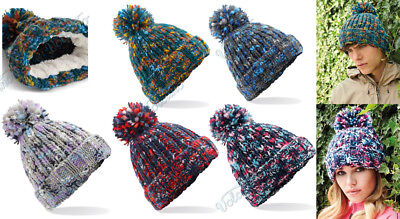LADIES LUXURY WINTER Fleece Lined Bobble Beanie Hat With Fur Trim ... b93a62a8bfdc