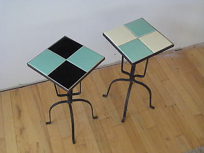 Pair Of Vintage  California Arts Ceramic Tile And Wrought Iron Tables