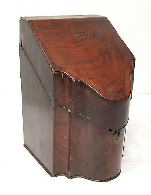 Antique Georgian Inlaid Wood Knife Cutlery Box Sheraton As Is Mahogany