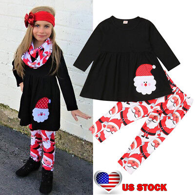 2PCS Toddler Kids Baby Girls Clothes Outfits Christmas Top+Legging Pants Set