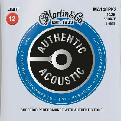 Martin MA140 Authentic Acoustic Guitar Strings 80/20 Bronze Light 12 - 54