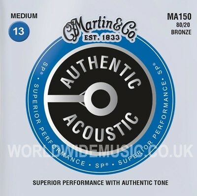 Martin MA150 Authentic Acoustic Guitar Strings 80/20 Bronze Medium 13 - 56
