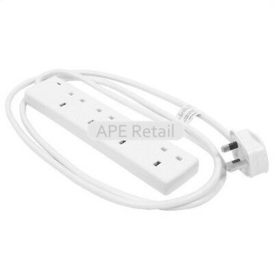 Wellco Extension Lead 2m Surge Protected 4 Socket White Black