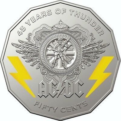 2018 AC/DC 45 Years of Thunder 50 Cent Coin Uncirculated