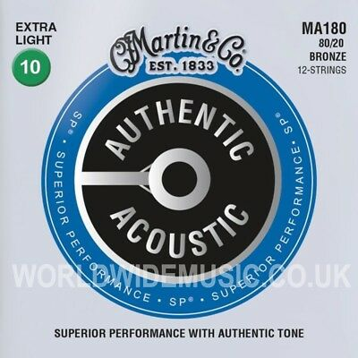 Martin MA180 Acoustic Guitar Strings Bronze Extra Light 12 STRING SET 10 - 47