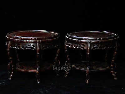 "7"" a pair of china rare qing dynasty huanghuali wood vase base"
