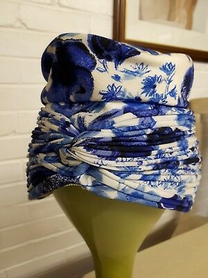 Vintage ladies white and blue floral hat, turban style, ruched.