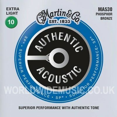 Martin MA530 Acoustic Guitar Strings Phosphor Bronze Extra Light Gauge 010 - 047