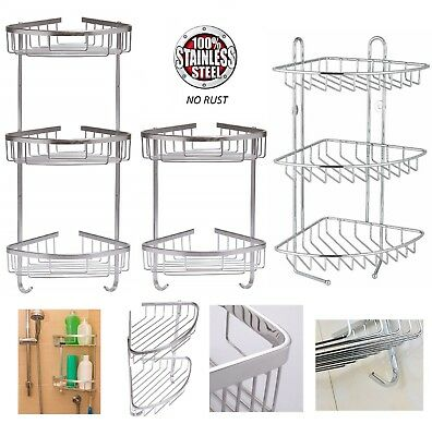 Rust Free Stainless Steel Corner Shower Caddy Bathroom Shelf Organizer 2 /3 Tier