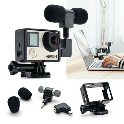 Mini Stereo 3.5mm Microphone + Protective Frame Mount For Gopro Hero 4/3+ 3 Cam