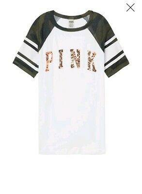 VICTORIA'S SECRET PINK BLING CAMO Perfect Ringer Tee Crew Shirt