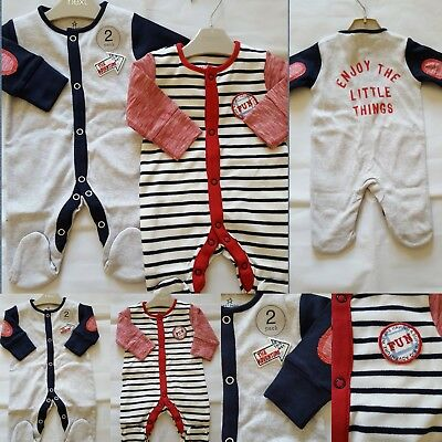 BNWT NEXT Baby Boys Newborn 0-1 0-3 6-9 Cotton Badge Stripe Sleepsuits/Babygrow