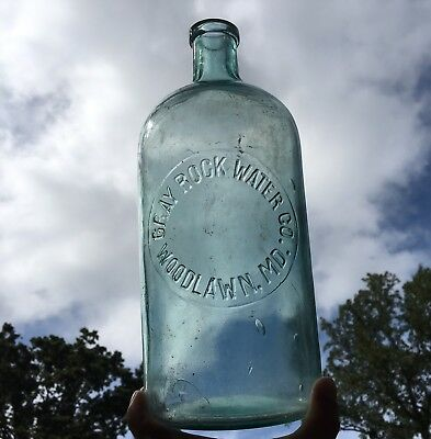 Blown Spring Water Bottle Gray Rock Water Woodlawn MD Baltimore County Rare Aqua