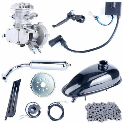 80cc 2 Stroke 2Cycle Gas Engine Motor Kit for Motorized Bicycle Bike Silver Body