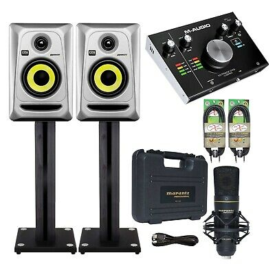 """KRK RP4G3S 4"""" Silver Powered Monitors (Pair) + M‐Track 2x2 Interface Package"""