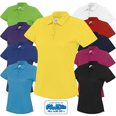 AWDis Ladies Fit Sports Activity Polo Shirt Gym PE Lightweight Wickable Top New