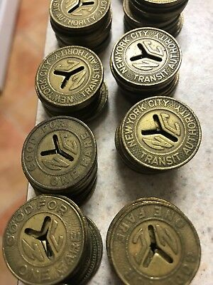 NYC SUBWAY CUT out Y TOKENS  22 MM