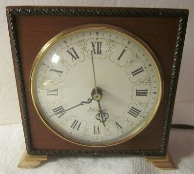 Vintage SETH THOMAS Wood Brass Mantle Electric Alarm Clock Made In U.S.A.