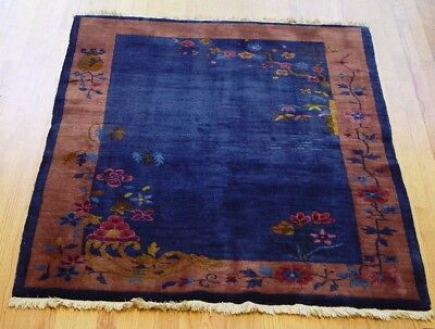 """ANTIQUE ART DECO CHINESE HAND-KNOTTED WOOL QUALITY ORIENTAL RUG  4' x 5'9"""""""