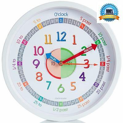 Time Teacher Children's Educational Learning Clock Easy Read Smooth Sweep Hands