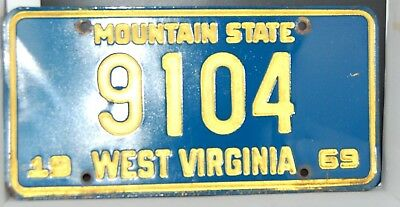 1969 West Virginia License  Plate----Four Number Plate