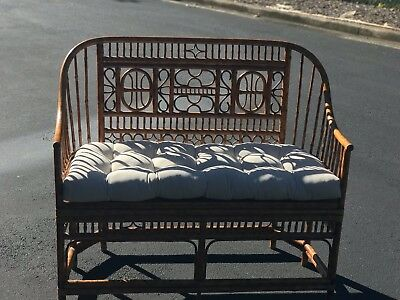 Vintage Chinese Chippendale Brighton Sofa Settee Love Seat rattan / Bamboo