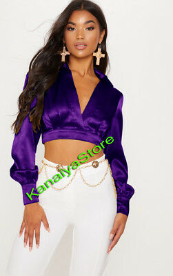 Bluish Purple Satin Vintage style Solid Collar Shirts Long Sleeve Casual Blouse