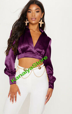 Purple - Satin Vintage style Solid Collar Shirts Long Sleeve Casual Blouse Top
