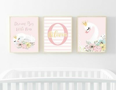 Princess Swan Pink Nursery Prints Playroom Bedroom A4 Personalised Floral Gold