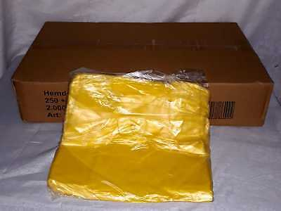 2000 Carrier Bags Plastic - 250+ 120 x 450 mm - Bags Carrier Bag Yellow