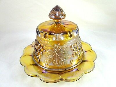 NORTHWOOD Carnival Glass Grape & Cable Covered BUTTER DISH