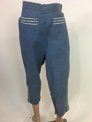 true vintage 1950s USA Queen Casuals Pedal Pushers cropped cotton pants S vtg 14