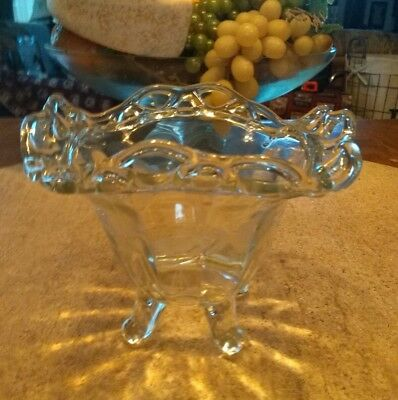 """Vintage Imperial Crochet Clear Glass Lace Edge Lacy Doric Footed Bowl 4 3/4 """" H"""