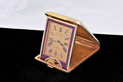 c. 1900 Udall & Ballou Gilt Sterling Guilloche Enamel 8 Day French Travel Clock