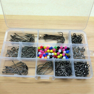 Eg_ Over 400 Items Sea Fishing Rig Beads Swivels Crimps Hooks Set With Tackle Bo