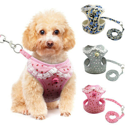 EG_ Small Puppy Dog Walking Lace Bell Harness Leash Set Soft Mesh Pet Vest Lead