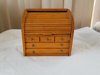 Vintage Wooden Recipe Box Roll Top Desk